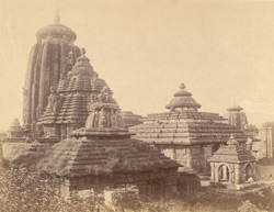 View from the south-east of the Rajalinga Temple and other temples, Bhubaneshwar